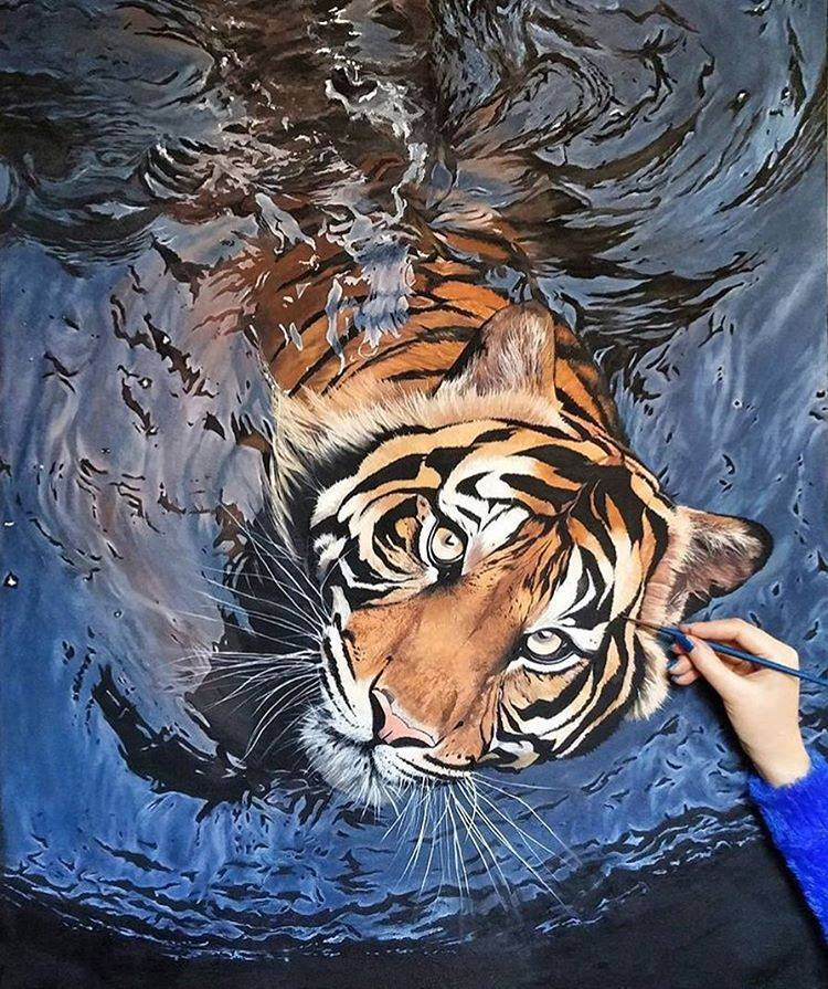 tiger animal painting by maryam nayeb