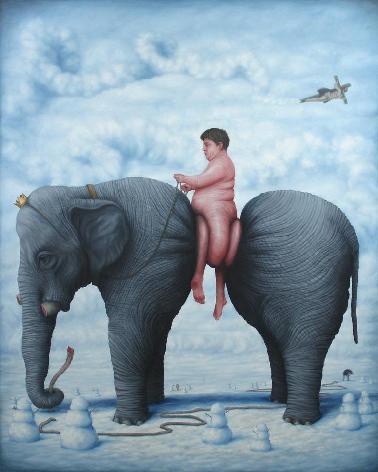 elephant surreal painting by bruno pontiroli
