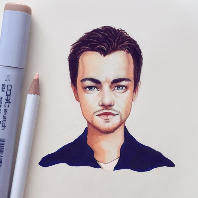 leonardo dicaprio color pencil drawing