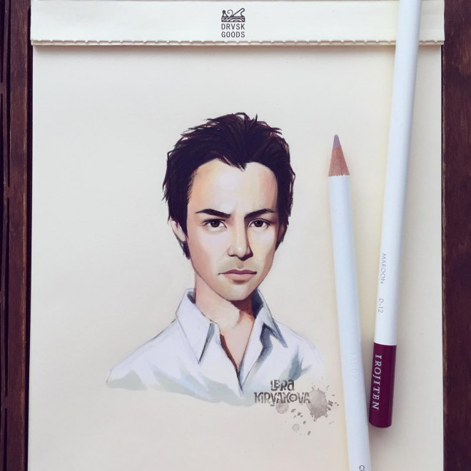 keanu reaves color pencil drawing