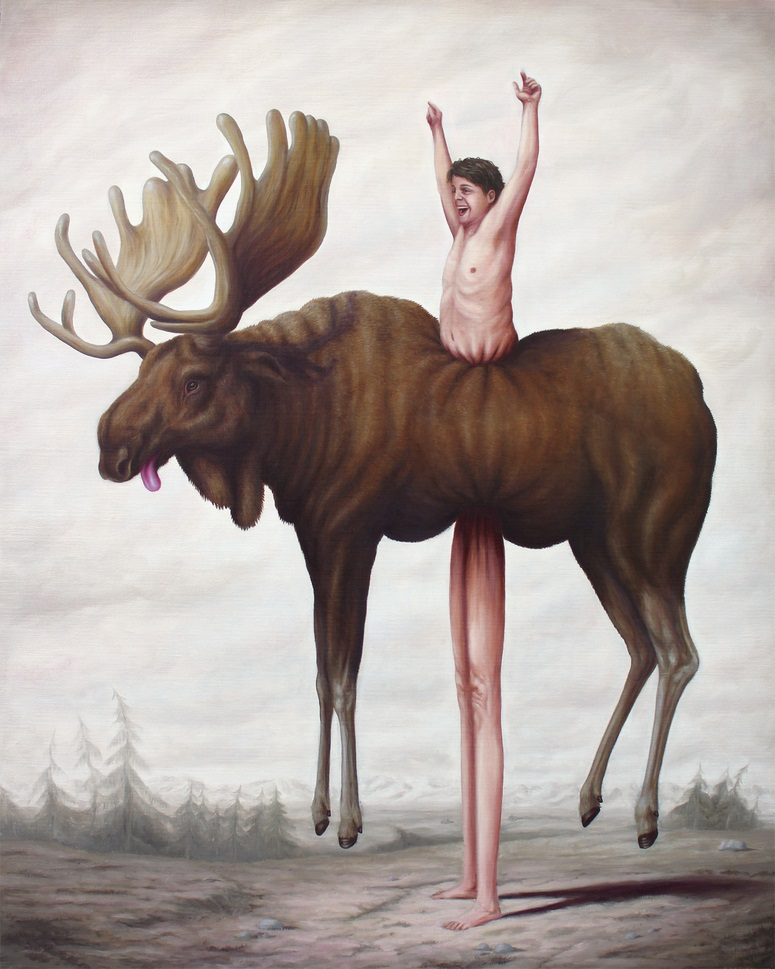 reindeer surreal painting by bruno pontiroli
