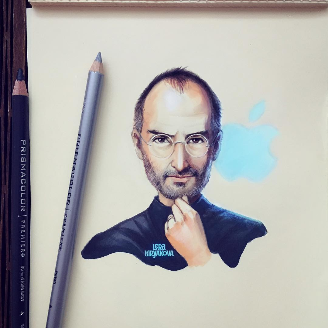 Steve jobs color pencil drawing by lera kiryakova 5