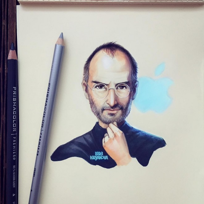 steve jobs color pencil drawing