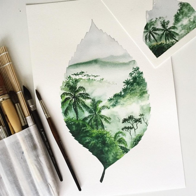 earth watercolor painting by jessica janik