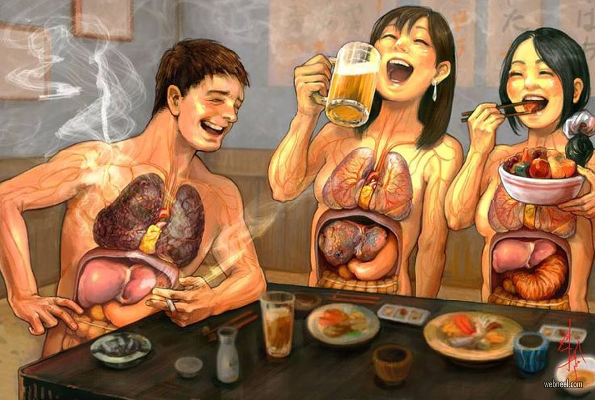 anti smoking drinking advertising poster