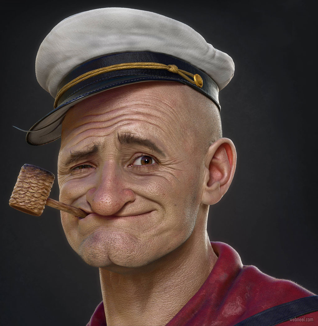zbrush model 3d sailor man by hossein diba