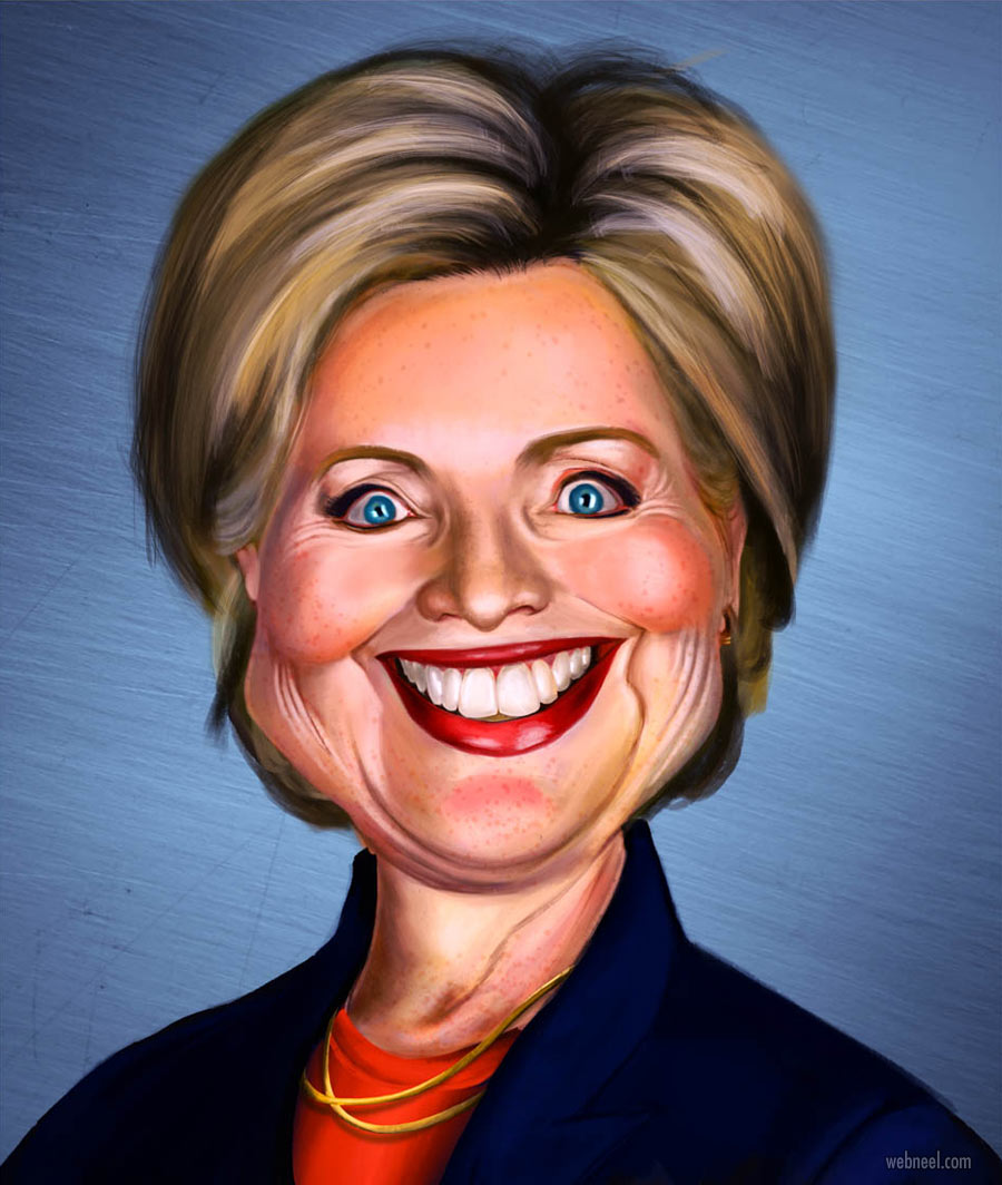 hillary clinton caricature drawing