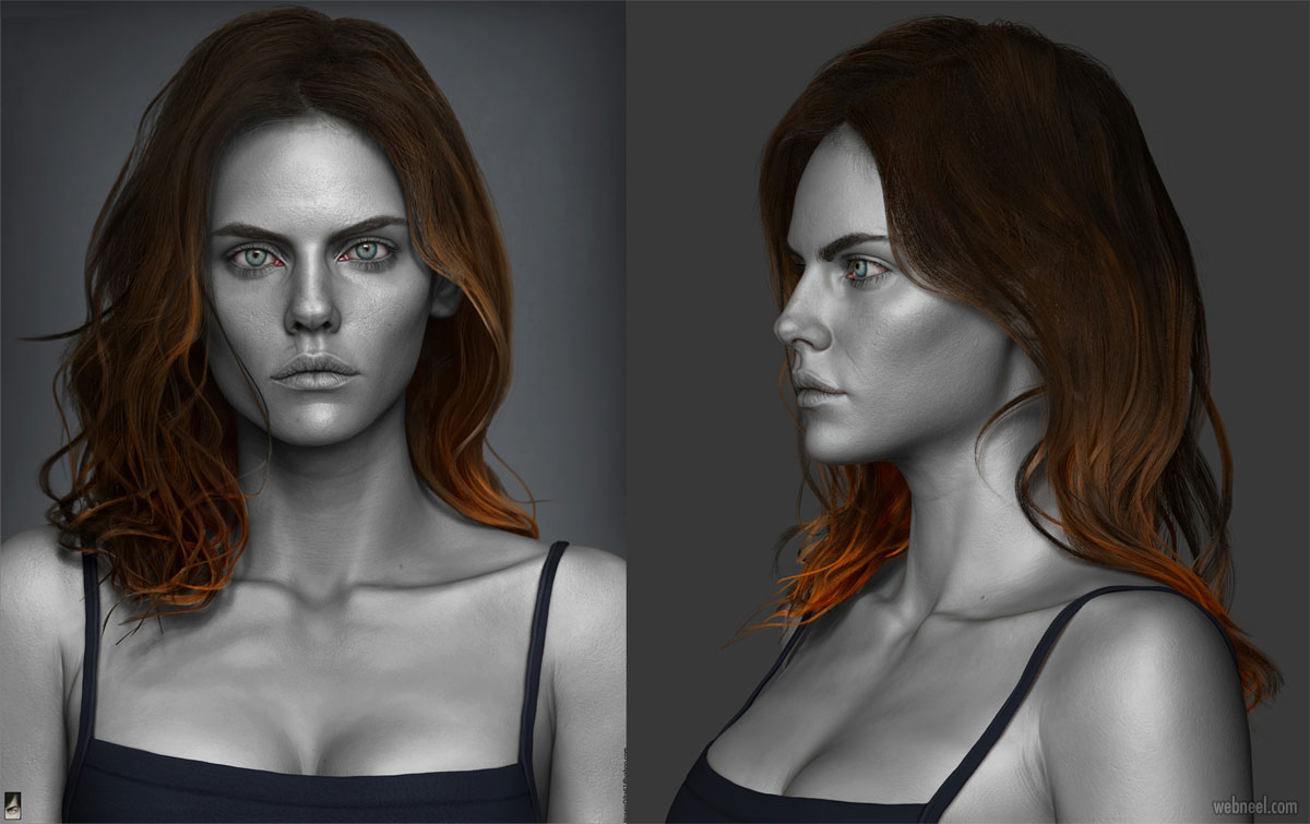 zbrush model 3d woman portrait by hossein diba