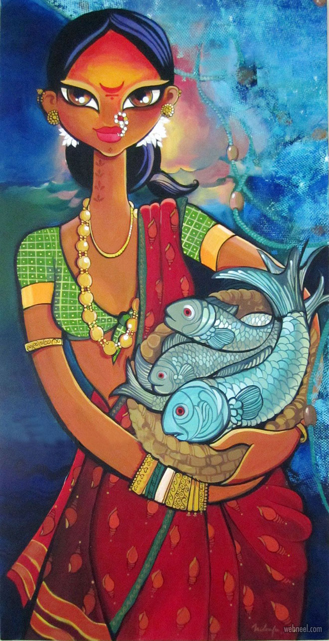 indian painting woman fish by nilouferwadia
