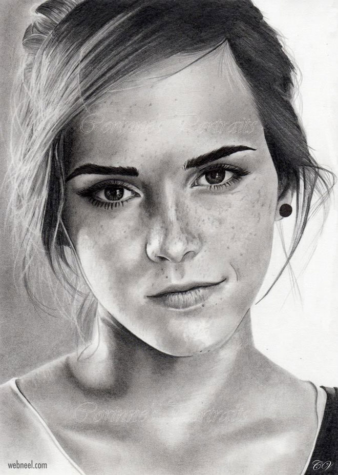 pencil drawing emma watson by corinne