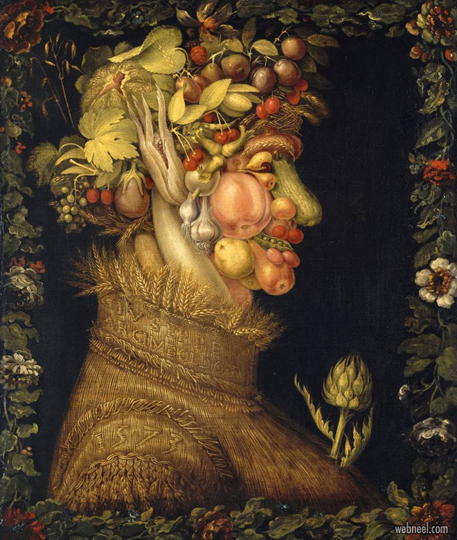 surreal painting vegetable by giuseppe arcimboldo