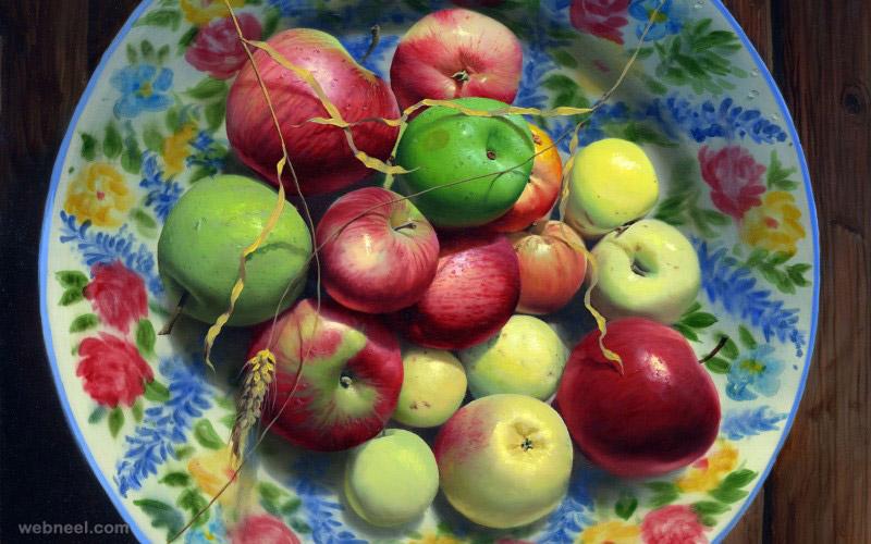 8 oil painting apple