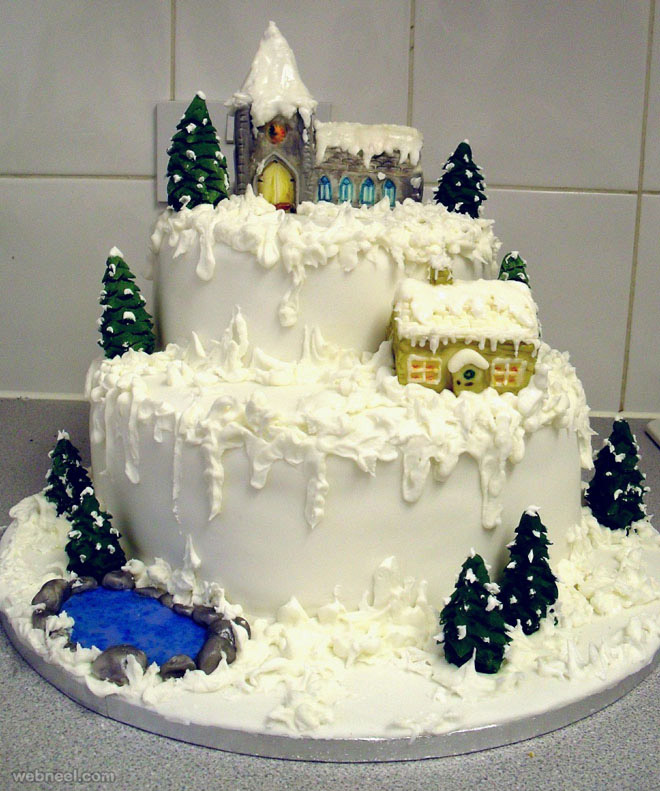 25 beautiful christmas cake decoration ideas and design examples. Black Bedroom Furniture Sets. Home Design Ideas