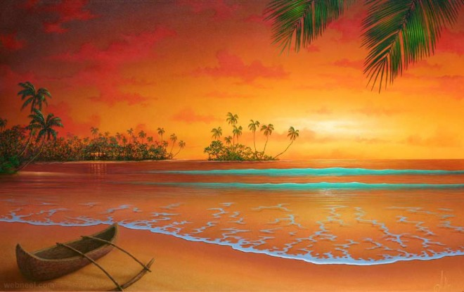 50 Beautiful Sunrise Sunset and Moon Paintings for your inspiration