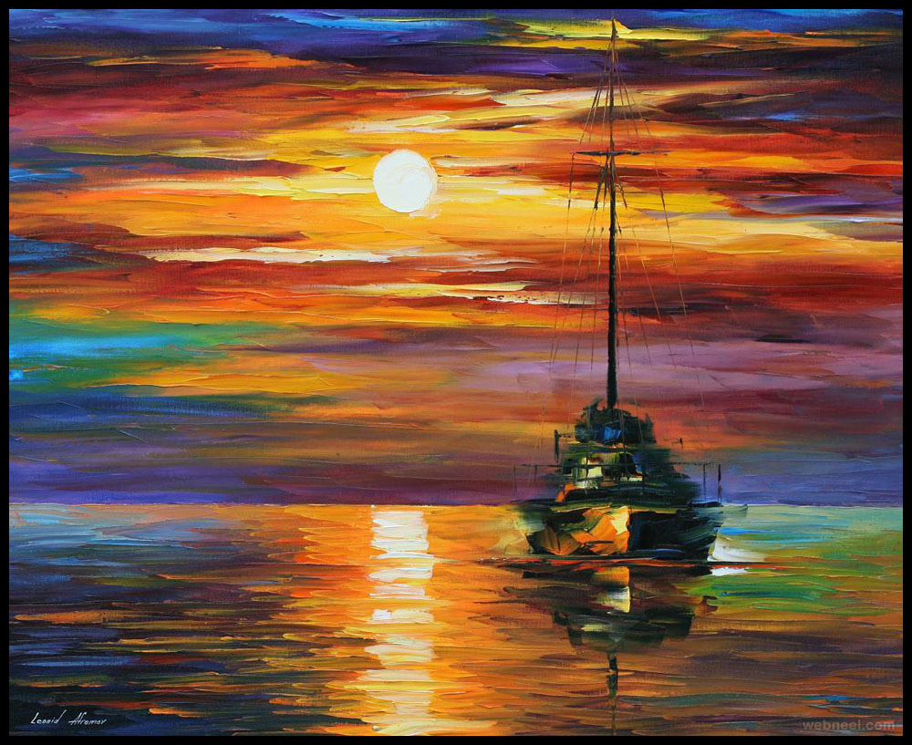 sunset painting art