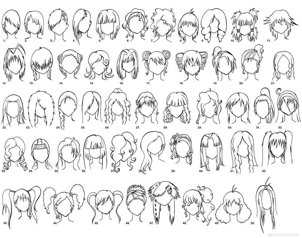 female anime drawing hair