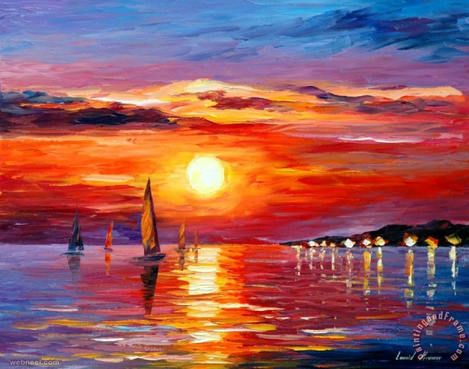 50 Beautiful Sunrise Sunset and Moon Paintings for your ...
