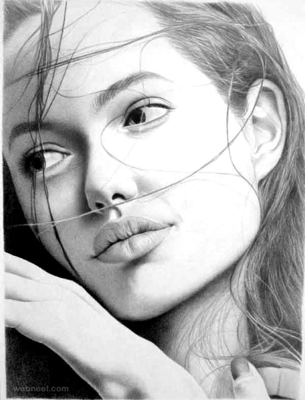 Portrait painting angelina jolie portrait drawing angelina jolie
