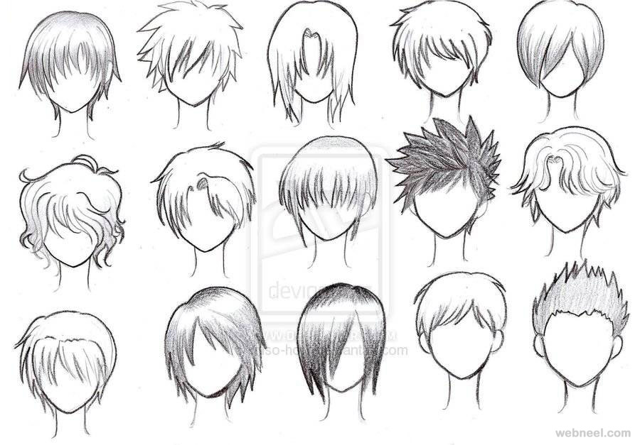 draw anime male hair 20