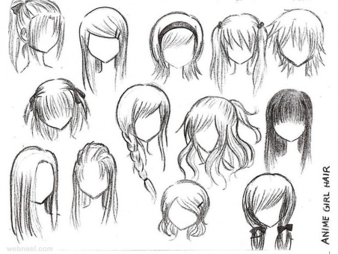 Anime Girl With Camera Drawing Draw Anime Girl Hair