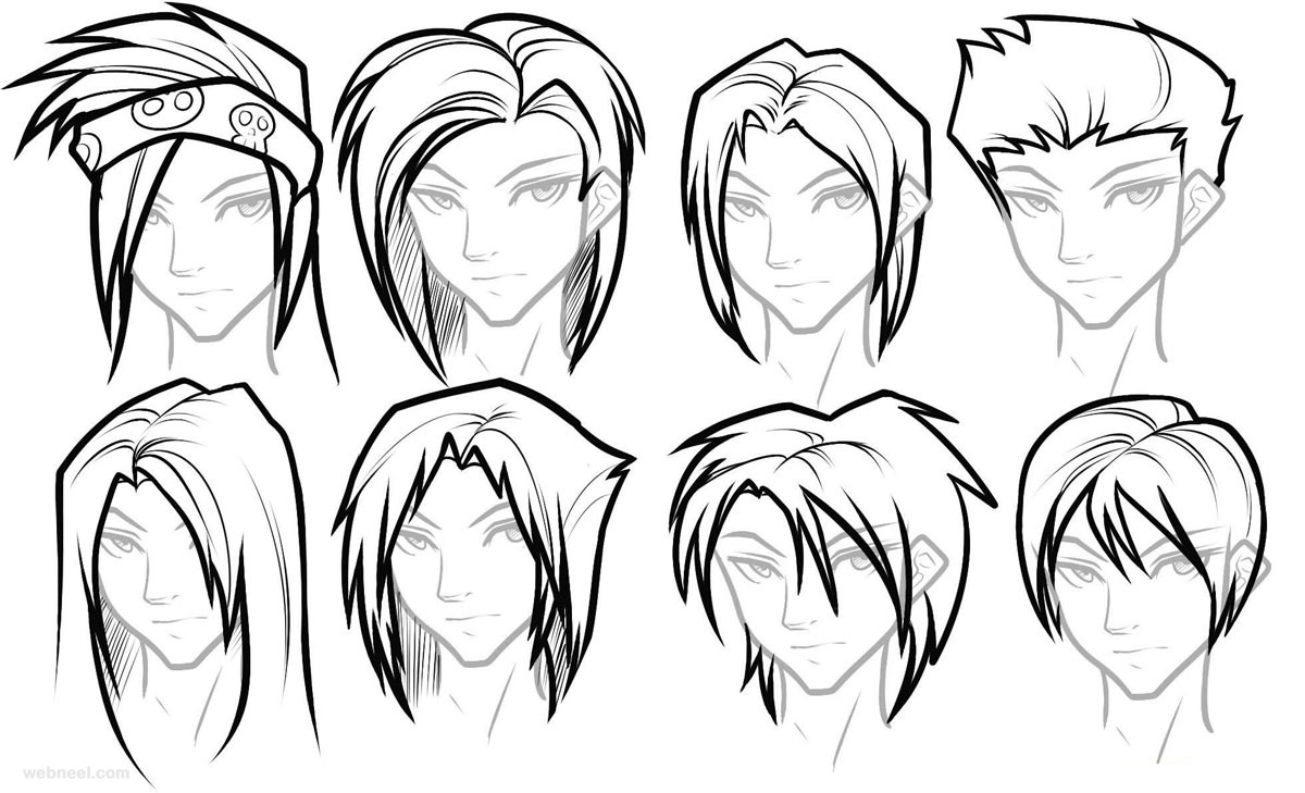 Draw Anime Male Hair 22 Full Image