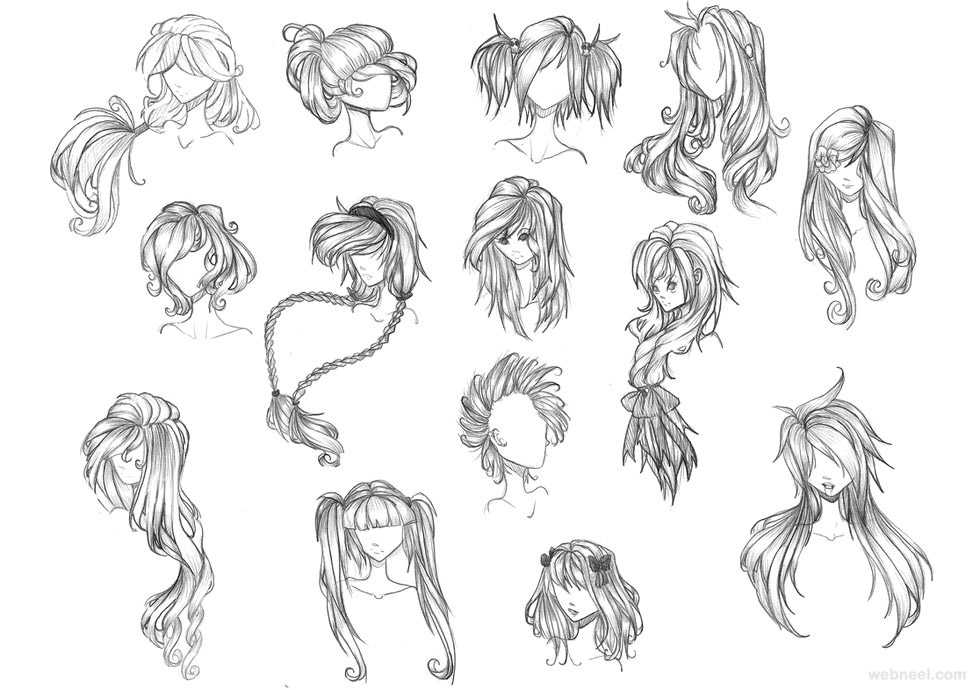 male hair draw anime hair
