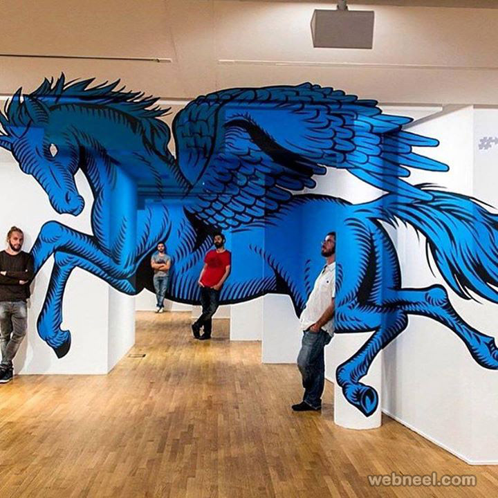 3d wall drawing horse