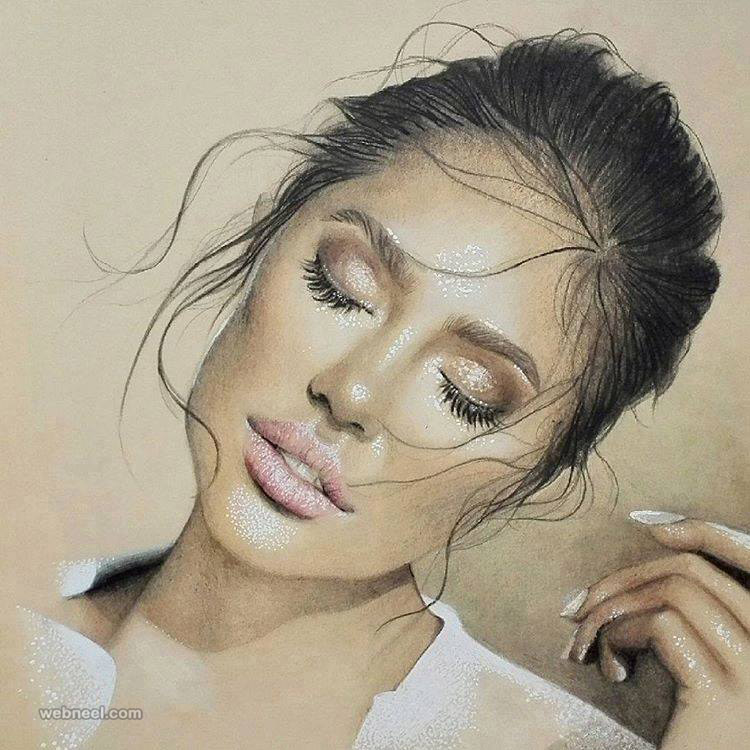 beautiful woman painting by emmimahrberg