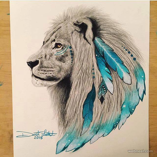 lion art drawing by scandy girl