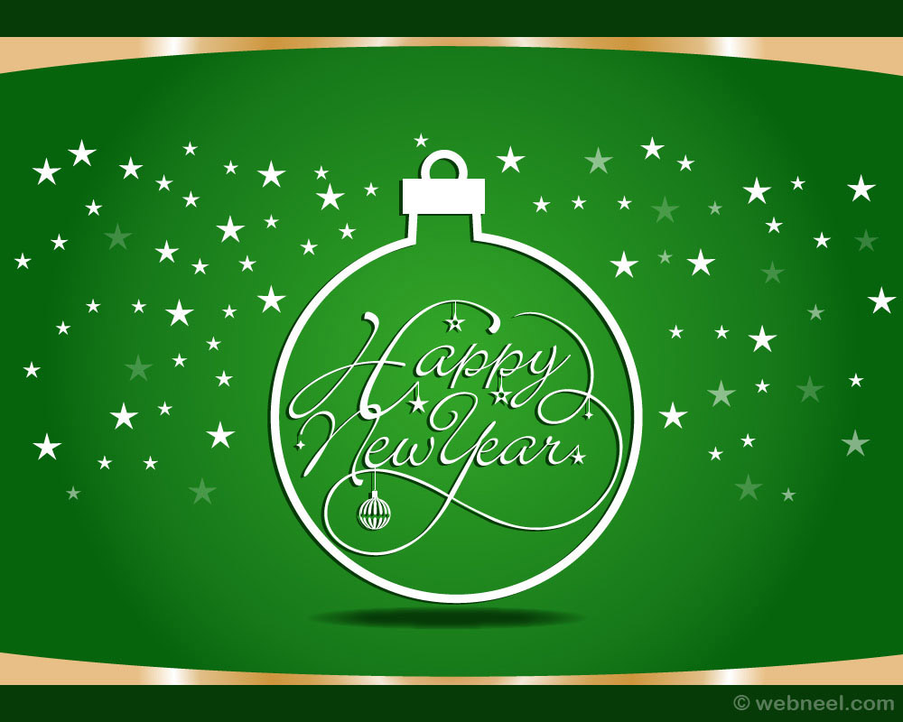 new year greeting card green design