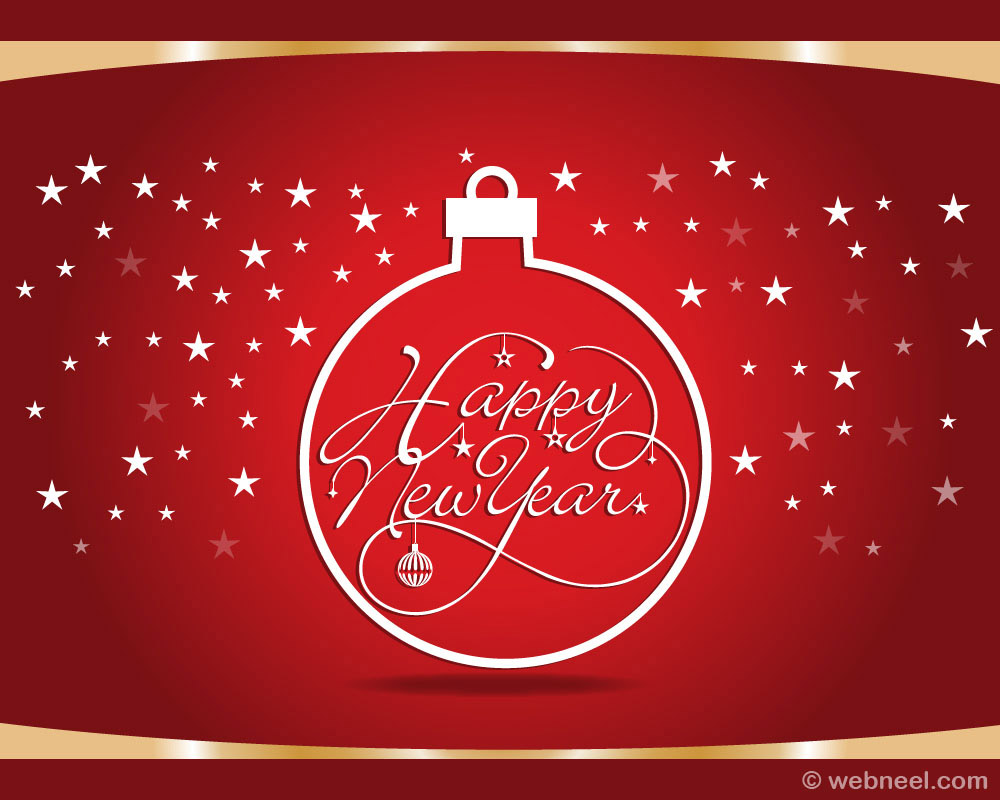 new year greeting card red