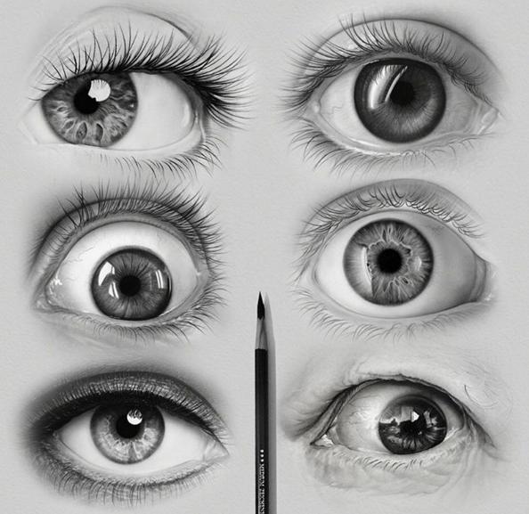 Realistic drawing of eyes by ayman fahmy
