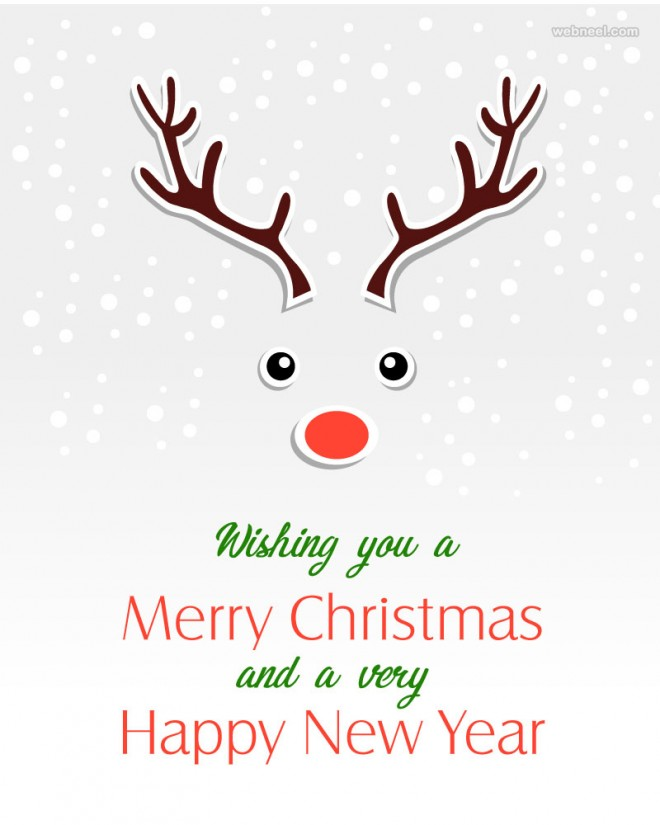 deer christmas greeting card design