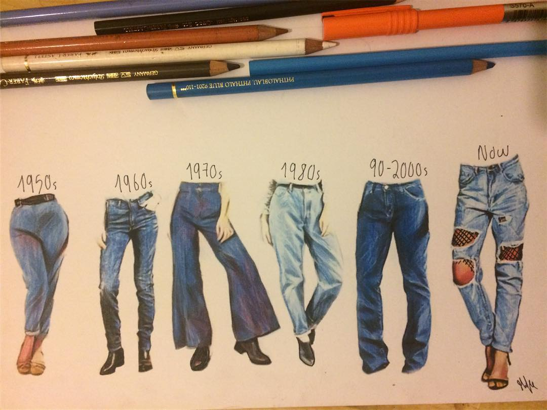 jeans color pencil drawing by mike gibson
