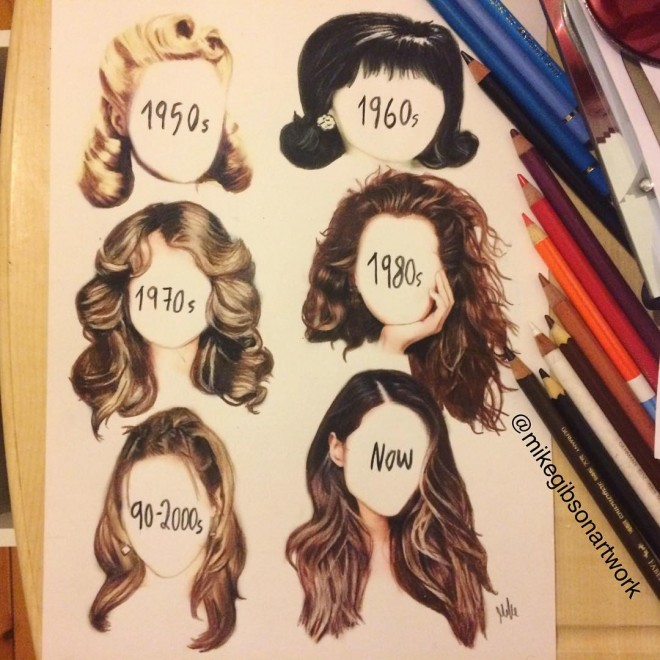 hairstyle color pencil drawing by mike gibson