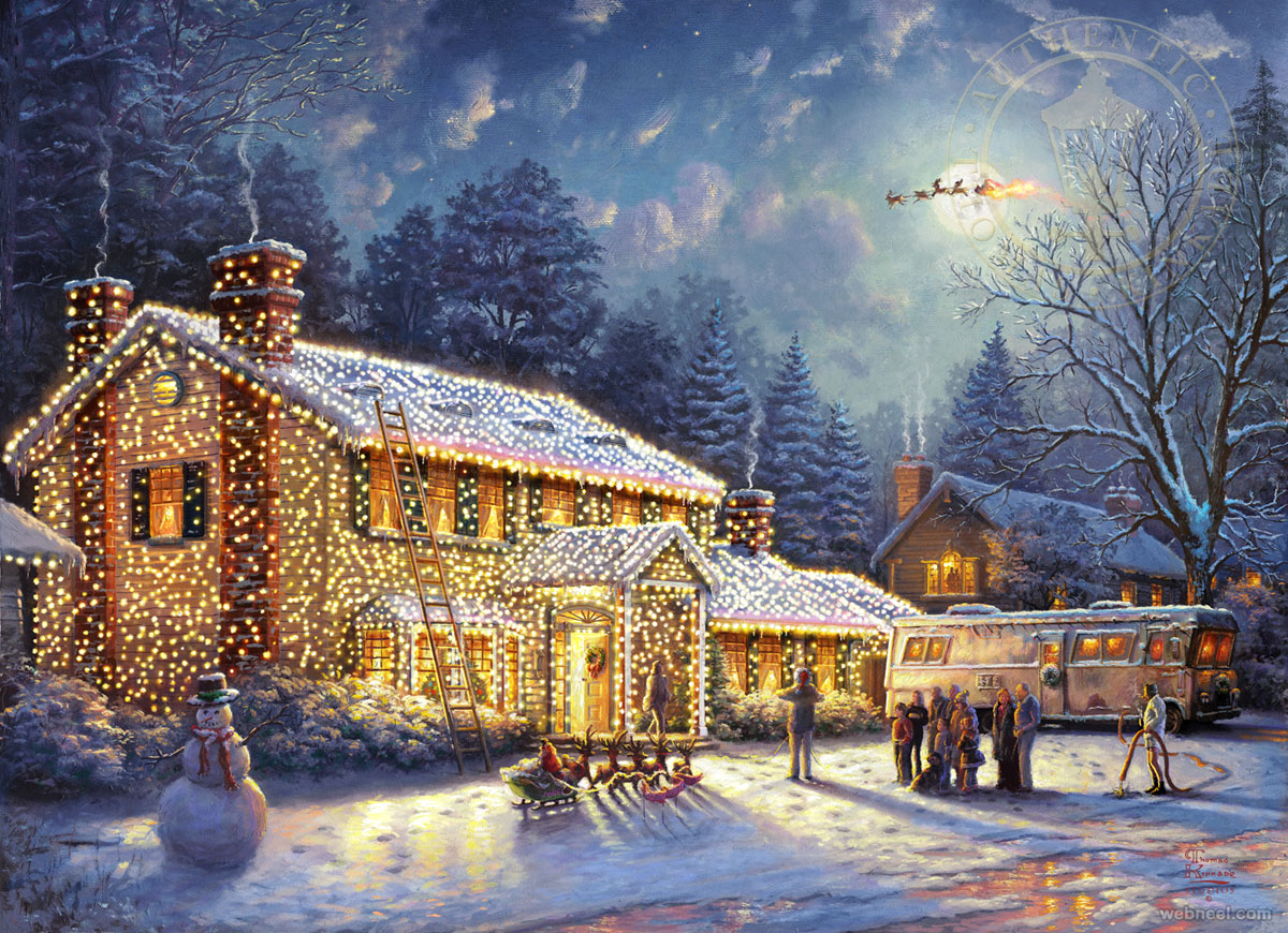 christmas painting by thomas kinkade 7. Black Bedroom Furniture Sets. Home Design Ideas