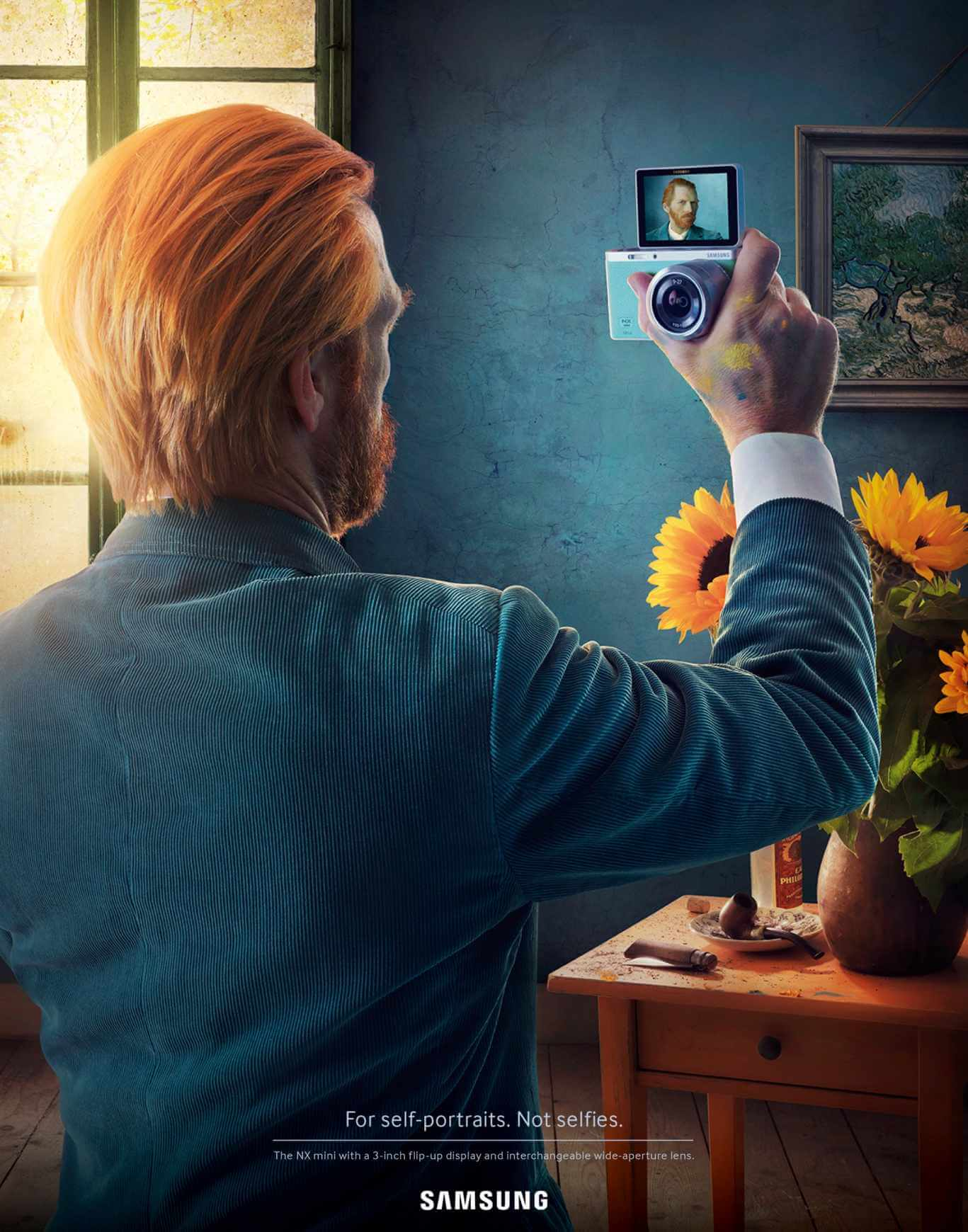 best advertising idea self portrait painting samsung vangogh