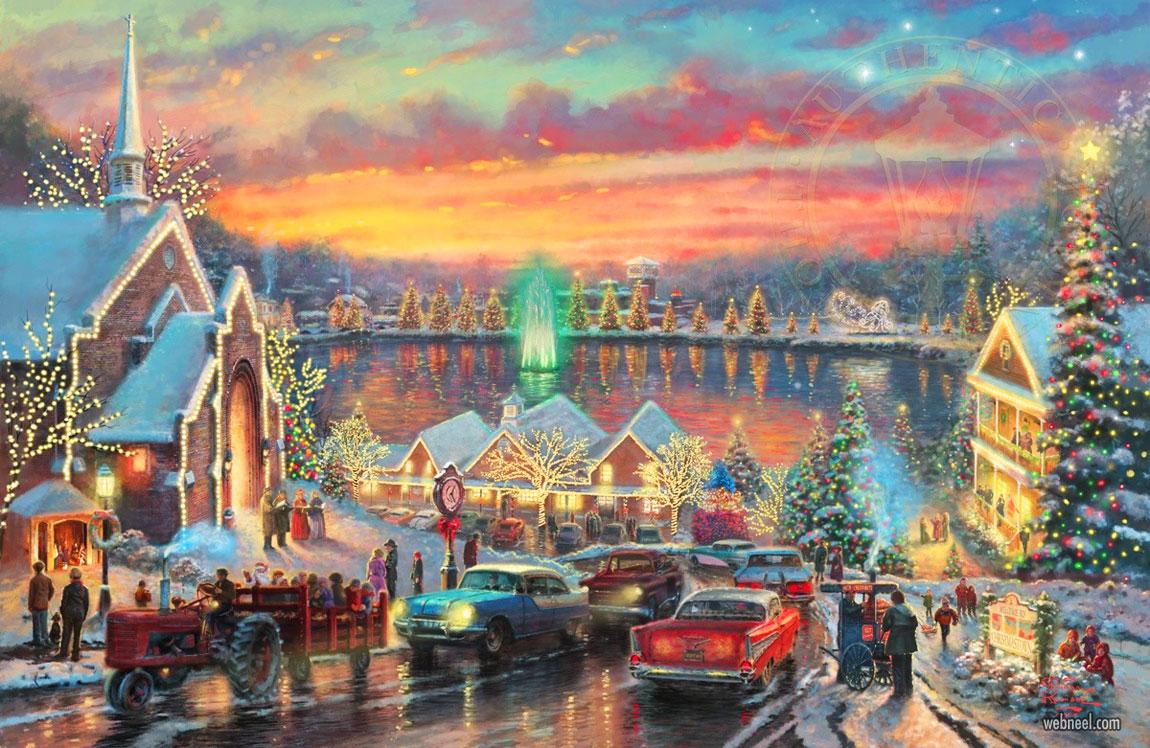 christmas painting snow city sunset by thomas kinkade