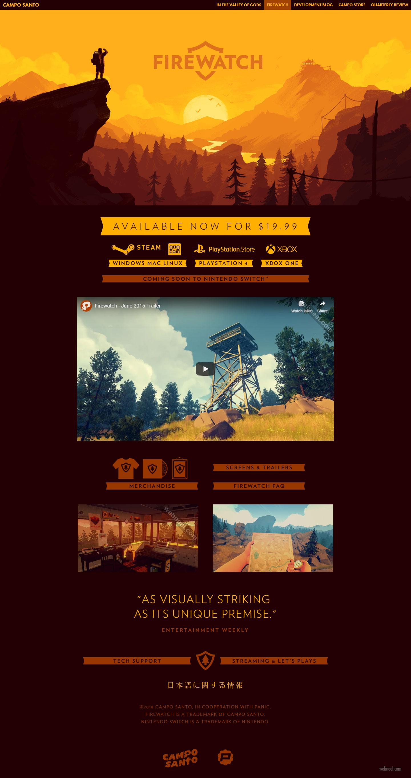 web design idea game firewatch