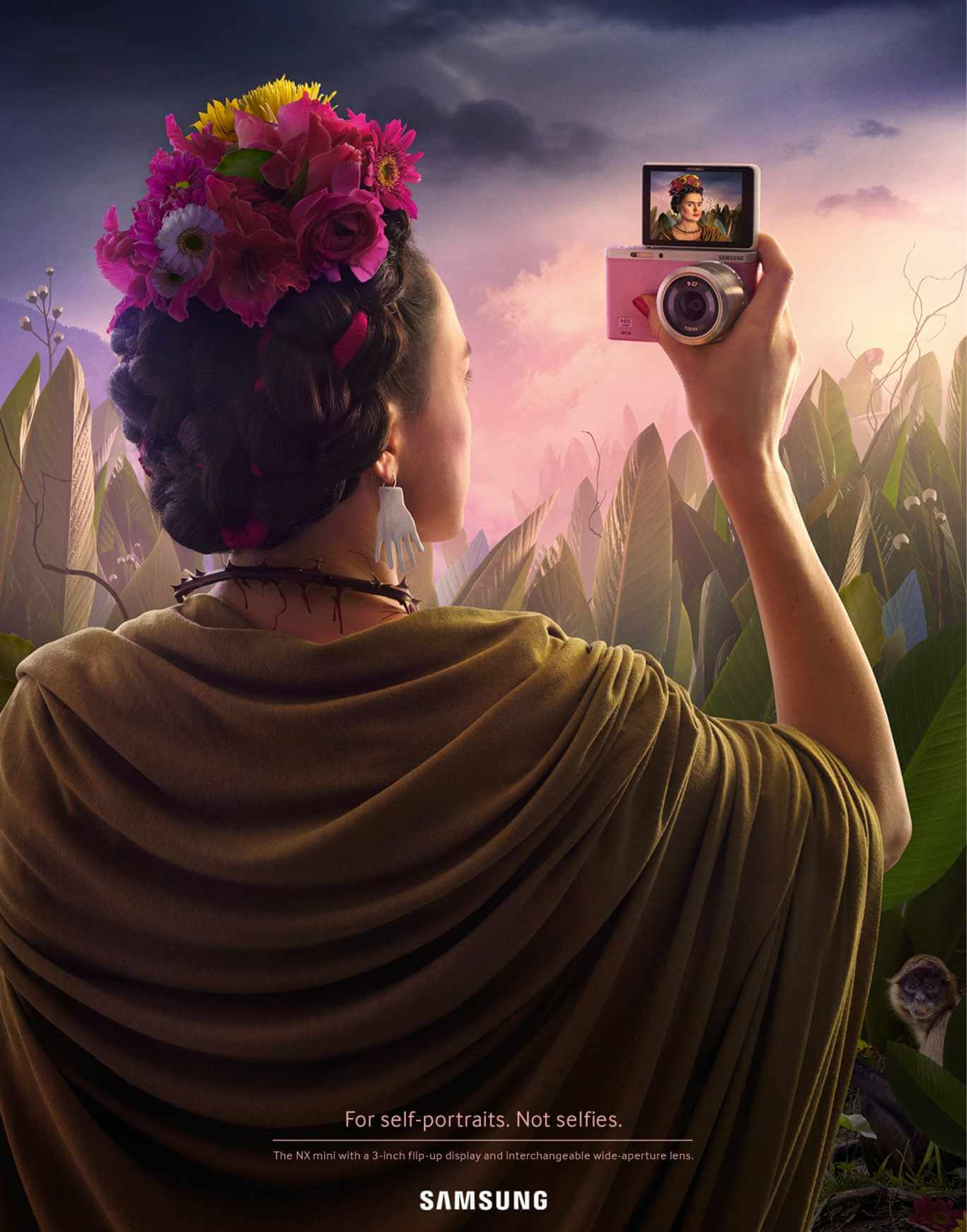 best advertising idea self portrait painting samsung frida kahlo