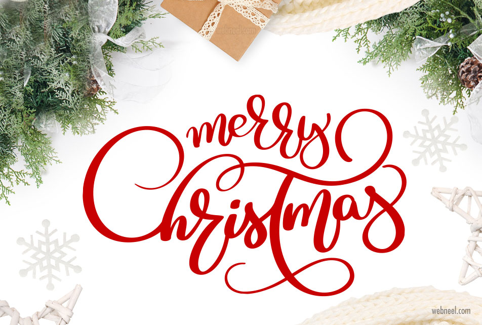 christmas typography design by happy letters