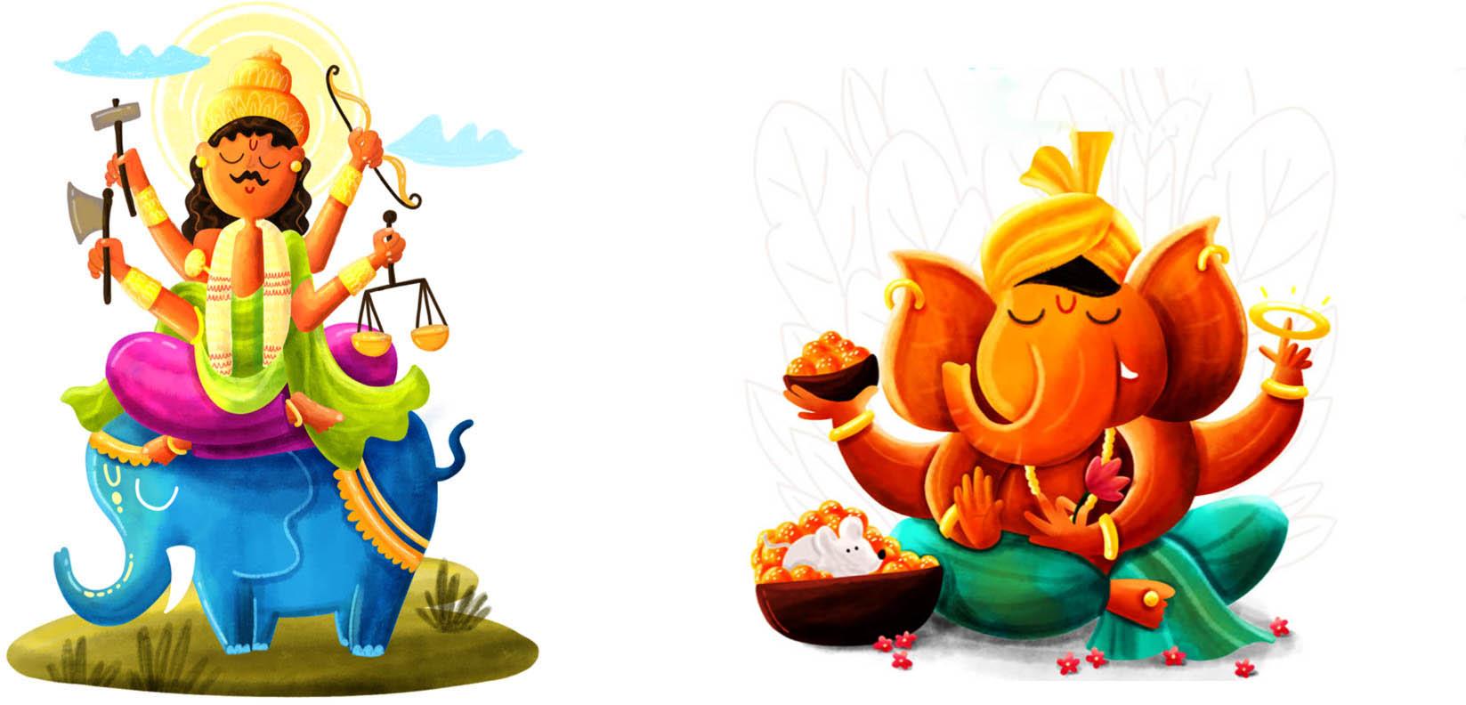 digital art indian gods
