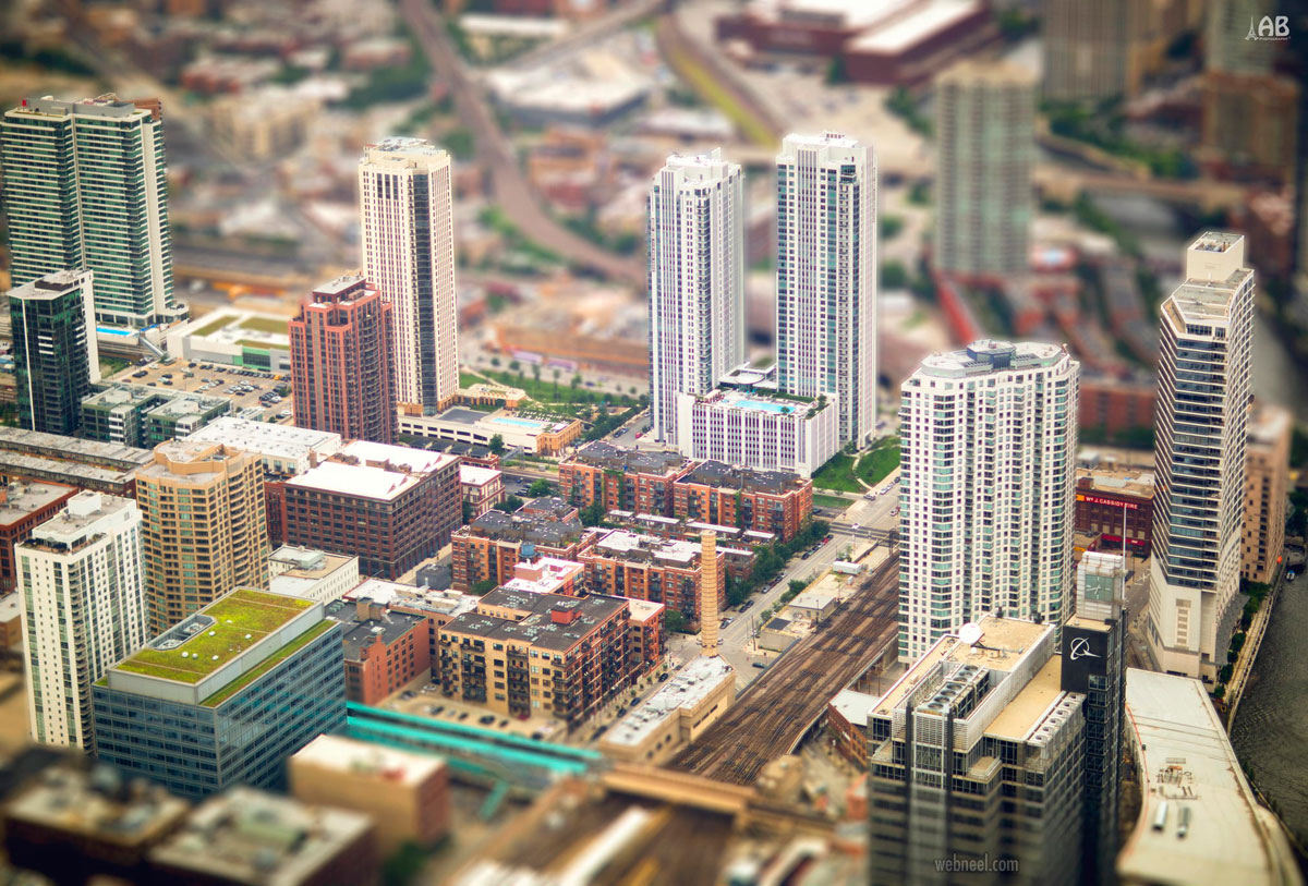 urban city potography tilt shift