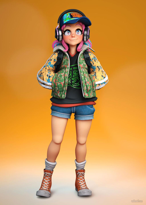 3d model girl cartoon character