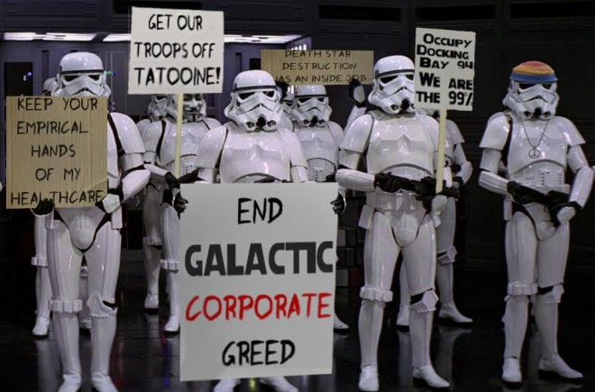 Star Wars occupy White Robots protesting creative