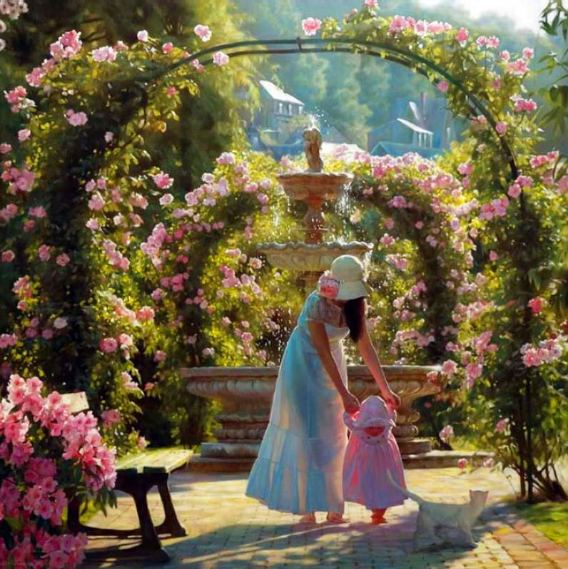 Picture-13 ( 25 Beautiful Oil Paintings by Andrei Belichenko - Woman, Garden and Dreams )
