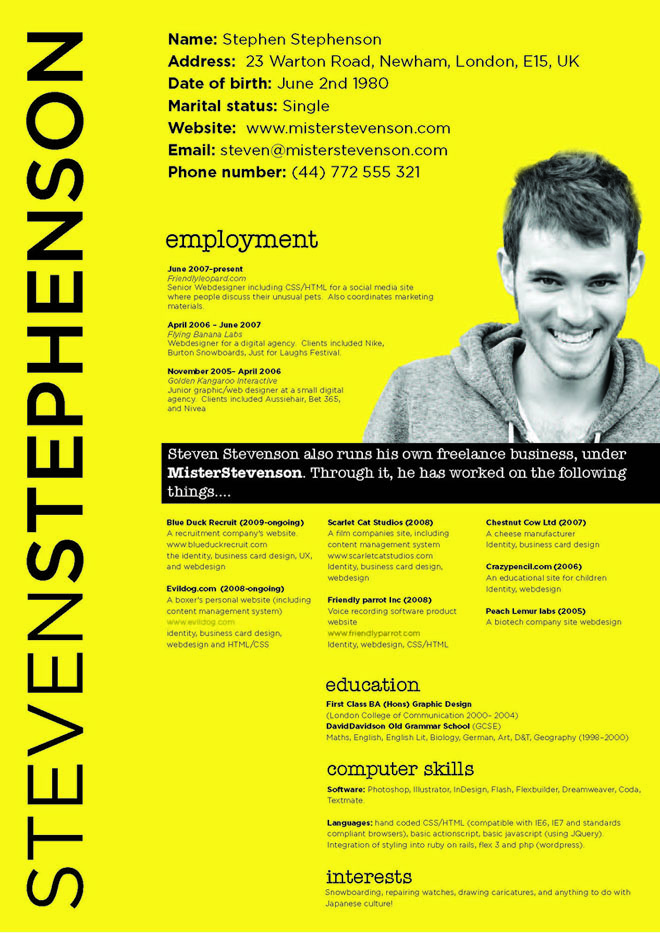 Best Creative Resumes Amusing Creative Resume Design  2