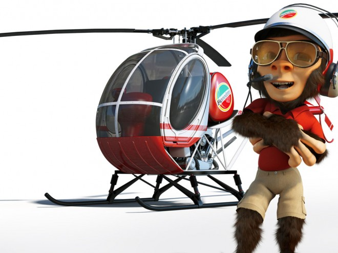 monkey 3d character mega pizza delivery