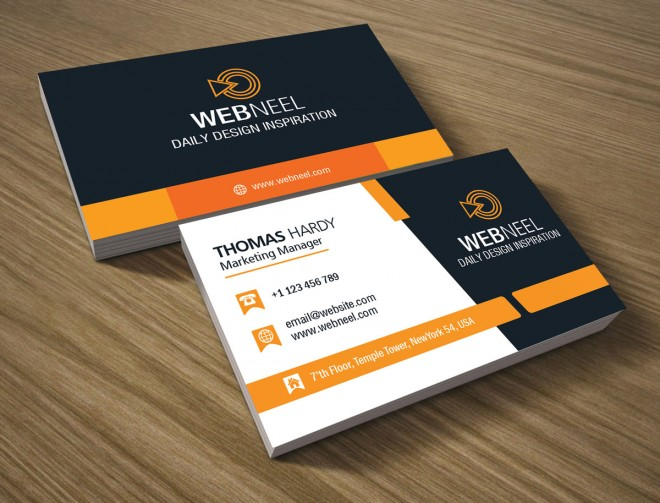 10 professional free business card templates with source files corporate business card template 1 reheart Image collections