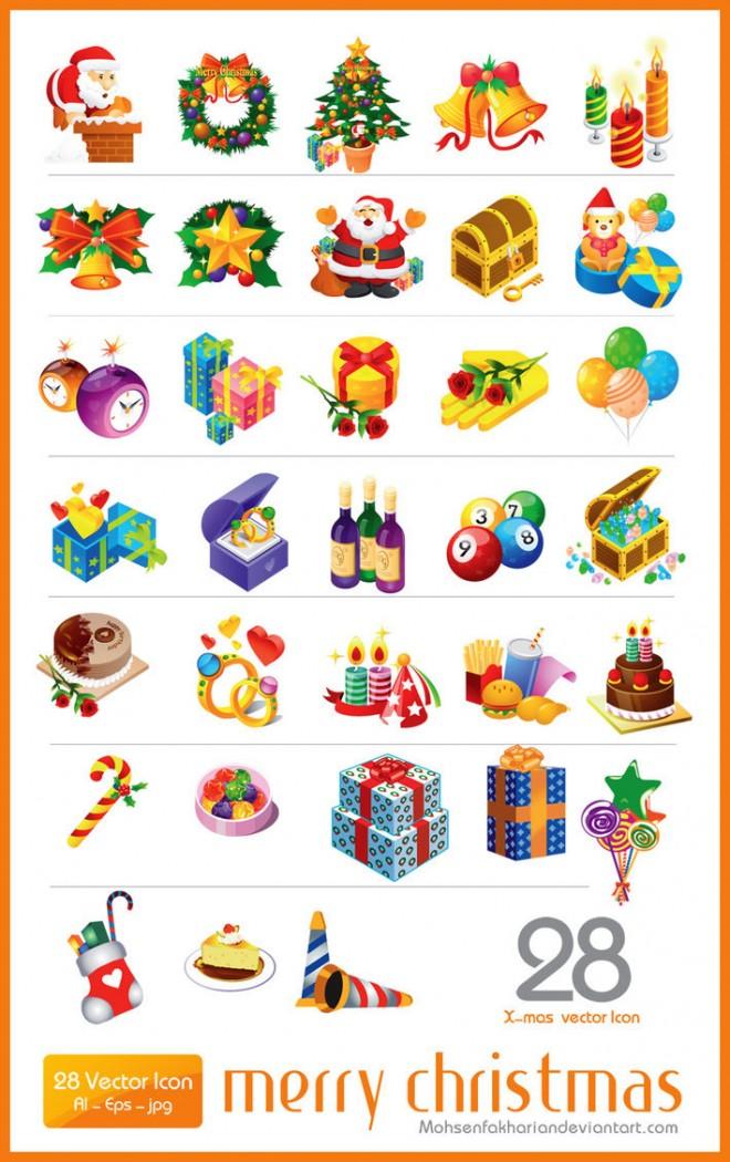 28 vector christmas icon set ai eps